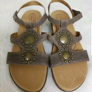 Aetrex broze leather comfort sandal 40 9